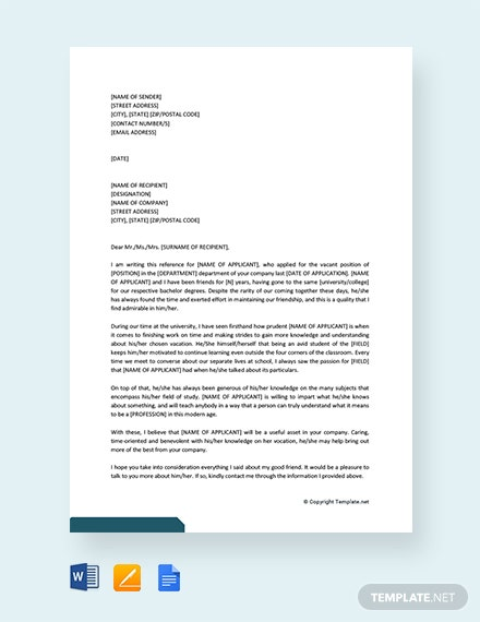 Free Personal Reference Letter For a Job