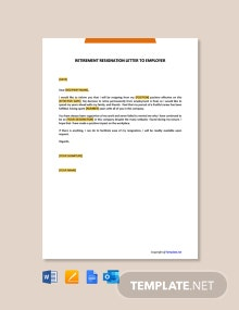 Free Retirement Resignation Letter to Employer