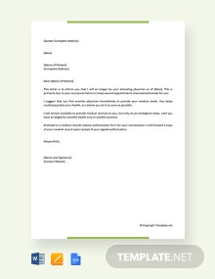 Free Patient Termination Letter No Show
