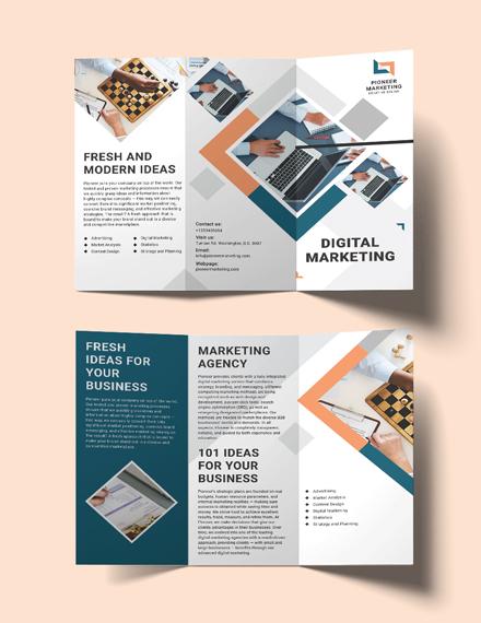 sample marketing agency tri fold brochure template