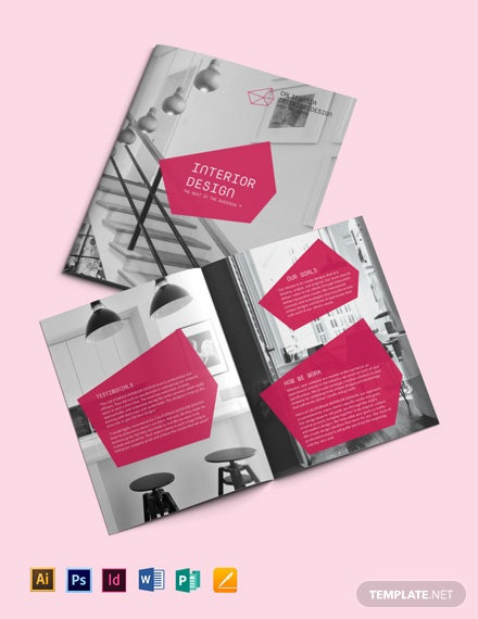 Interior Designer Bi Fold Brochure Template [Free Publisher] - Illustrator, InDesign, Word, Apple Pages, PSD
