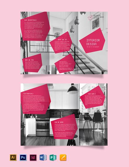 Interior Designer Tri Fold Brochure Template [Free Publisher] - Illustrator, InDesign, Word, Apple Pages, PSD