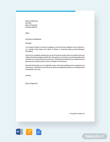 Free Application Letter for Work Immersion