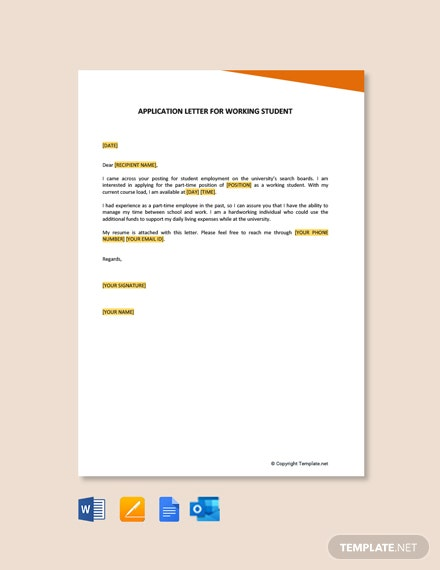 Free Application Letter For Working Student