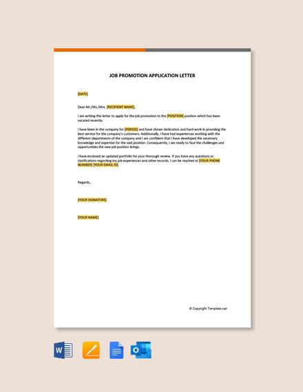 Free Job Promotion Application letter