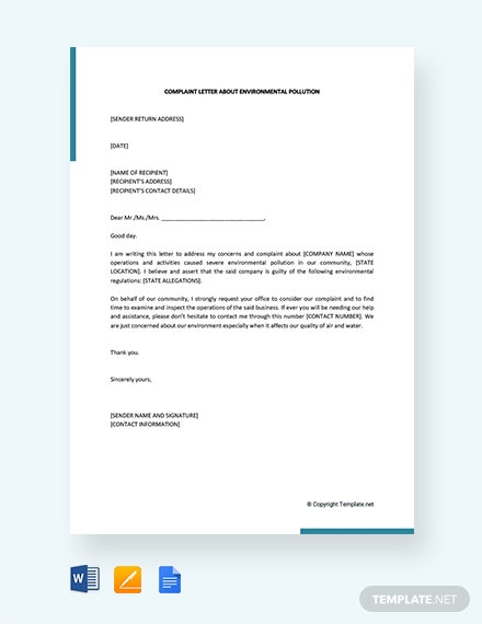 Free Complaint Letter About Environmental Pollution