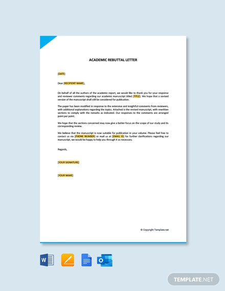 Free Academic Rebuttal Letter