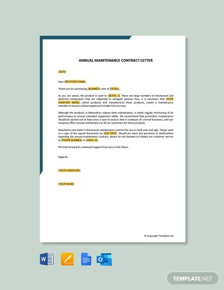 Annual Maintenance Contract Letter Template