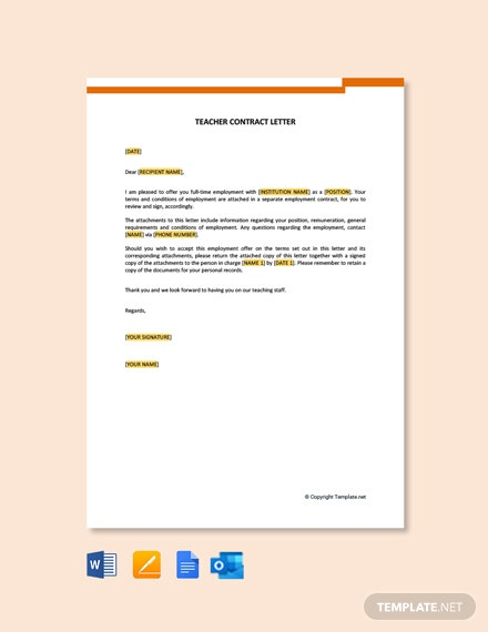 Teacher Contract Letter Template