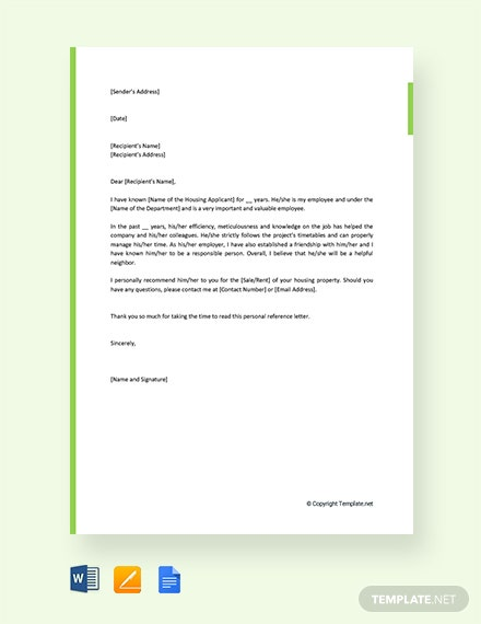 Free Personal Reference Letter For Housing