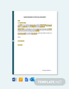 Free Work Reference Letter For Apartment