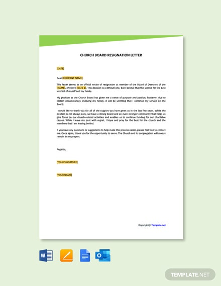 Free Church Board Resignation Letter