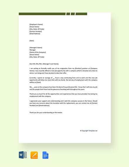 Free New Job Resignation Letter