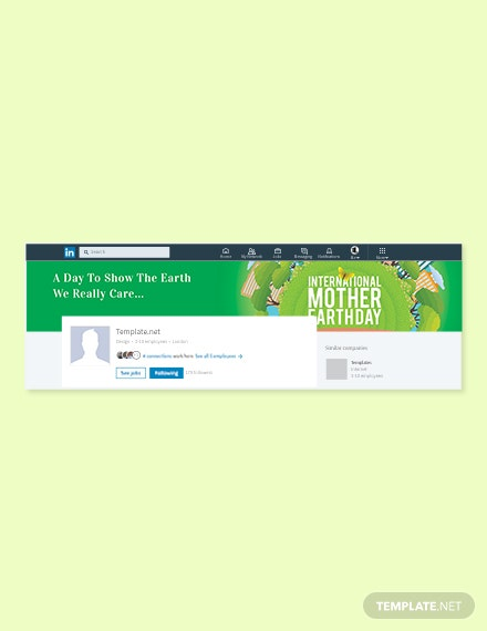 Free International Earth Day LinkedIn Company Cover Template