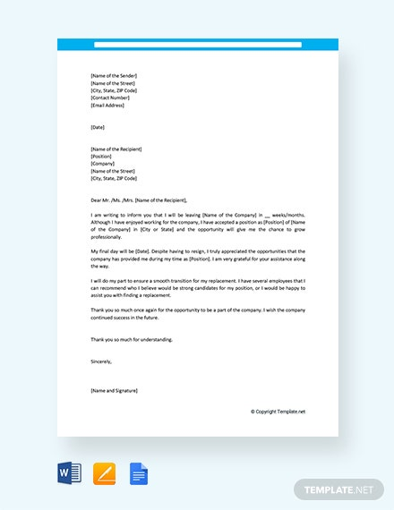 Free Resignation Letter Template For Personal Reason Download 1440