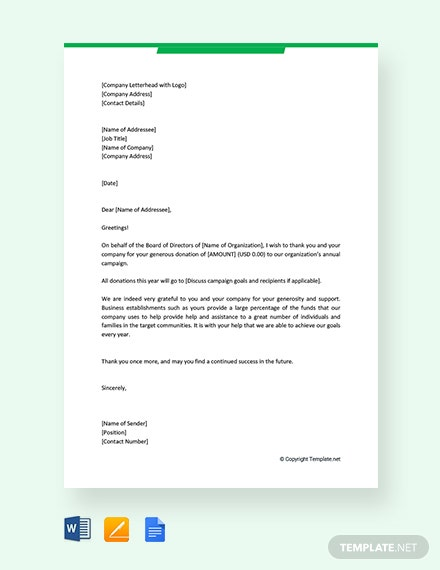 Free Business Thank You Letter for Donation