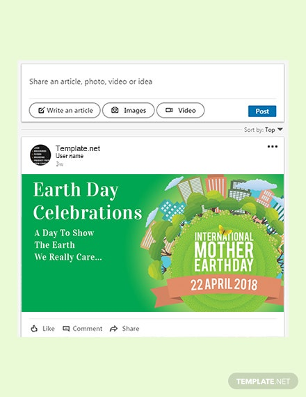 Free International Earth Day LinkedIn Post Template