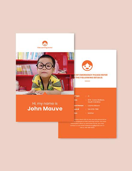 Sample Daycare Identity Card