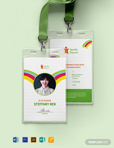 Daycare Teacher ID Card Template