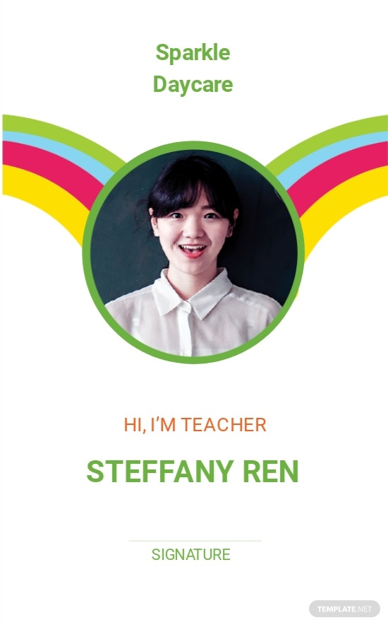 Daycare Teacher ID Card Template.jpe