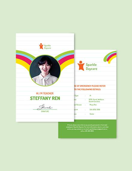 Sample Daycare Teacher ID Card