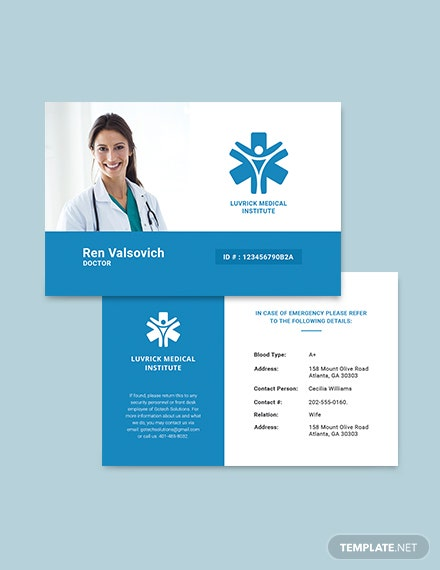 Sample Doctor ID Card