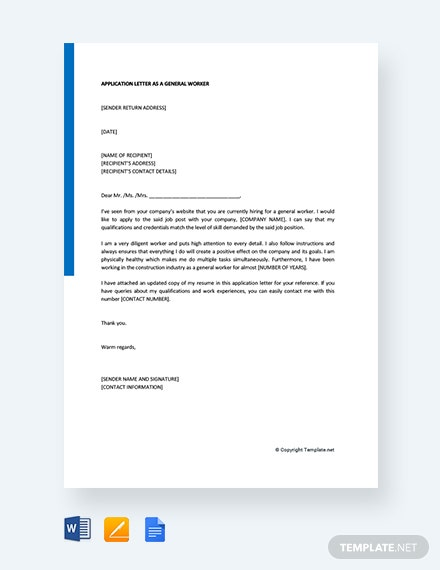 Free Application Letter As A General Worker
