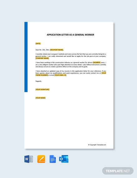 Application Letter As A General Worker