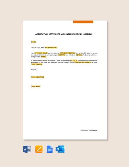 Free Application Letter For Volunteer Work In Hospital