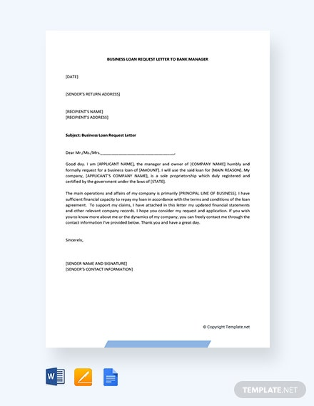 Free Business Loan Request Letter To Bank Manager