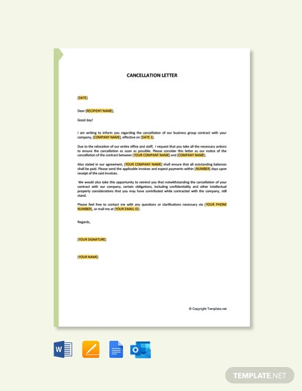 Free Cancellation Letter