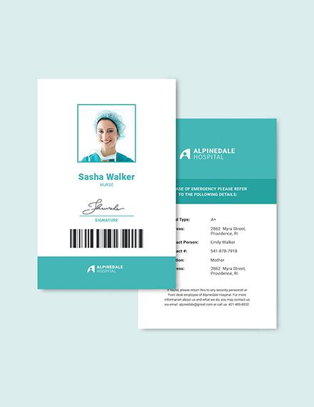 Sample Hospital Staff ID Card