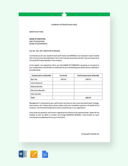 Free Employee Performance Appraisal Letter