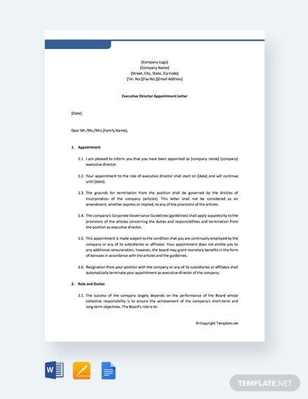 Free Executive Director Appointment Letter