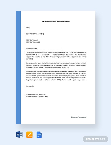 Free Internship Offer Letter From Company
