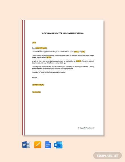 Free Reschedule Doctor Appointment Letter