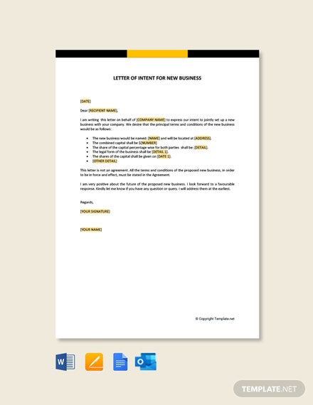 Free Letter Of Intent For New Business