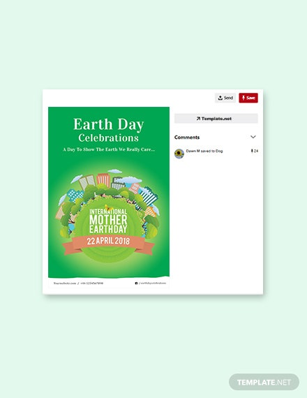 Free International Earth Day Pinterest Pin Template