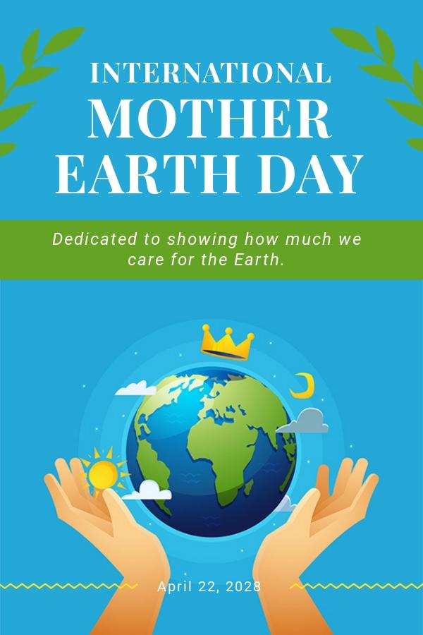 Free International Earth Day Pinterest Pin Template.jpe