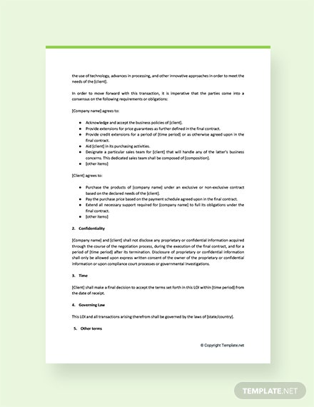 Letter of Intent to Do Business with the Company Template