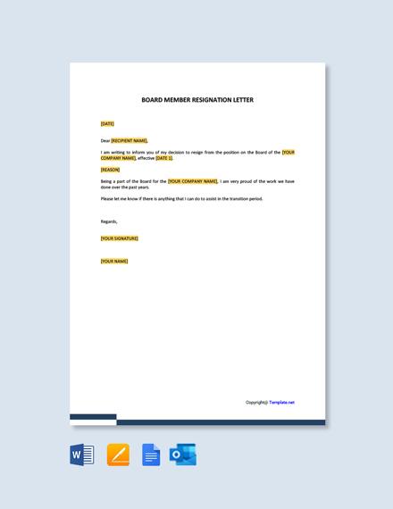 Free Board Member Resignation Letter