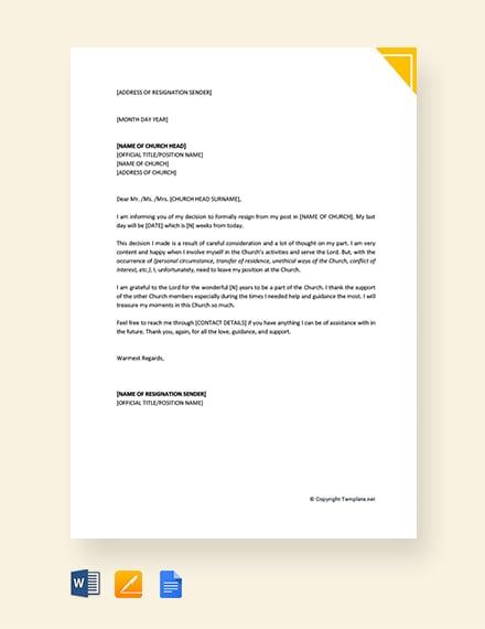 Free Church Resignation Letter