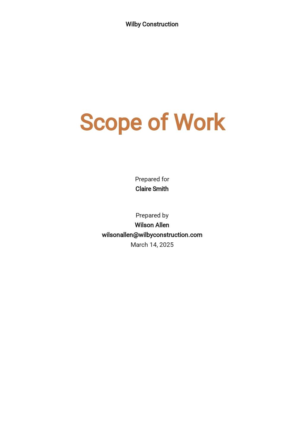 Blank Scope of Work Template