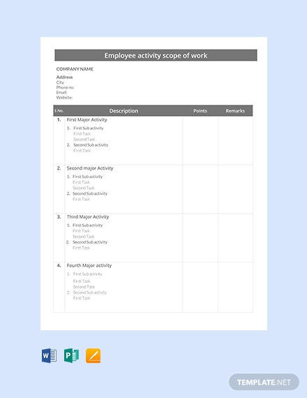Free Employee Activity Scope of Work Template