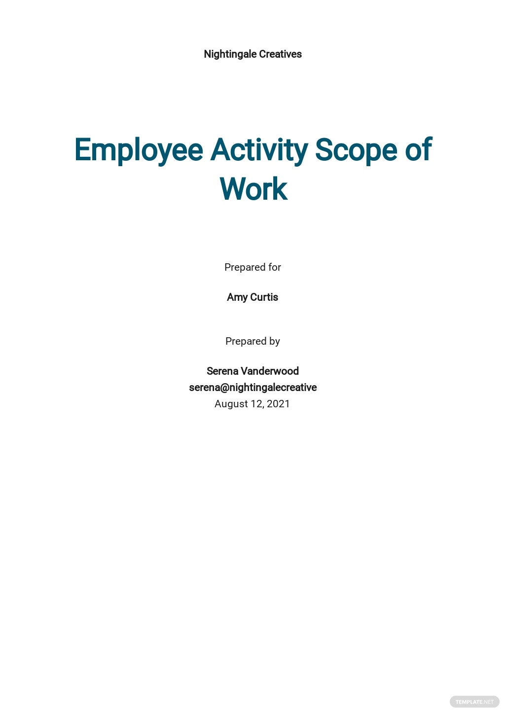Employee Activity Scope of Work Template