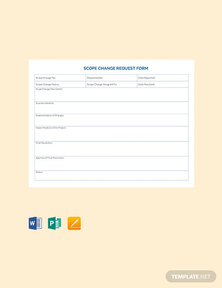Scope of Work Change Request Form Template