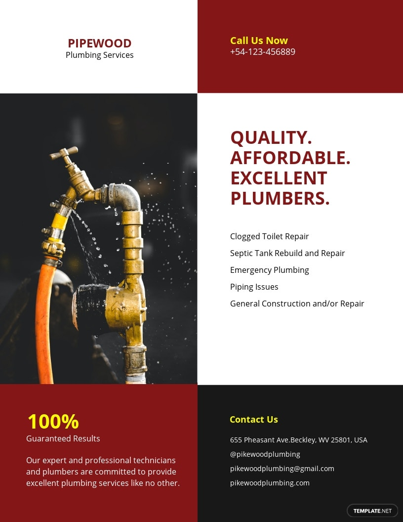 FREE Plumbing Service Flyer Template