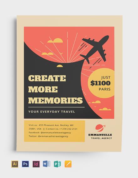vintage travel flyer template