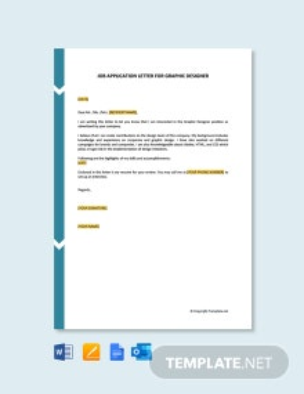 Free Job Application Letter For Graphic Designer