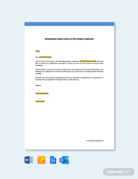 Free Internship Rejection Letter From Company